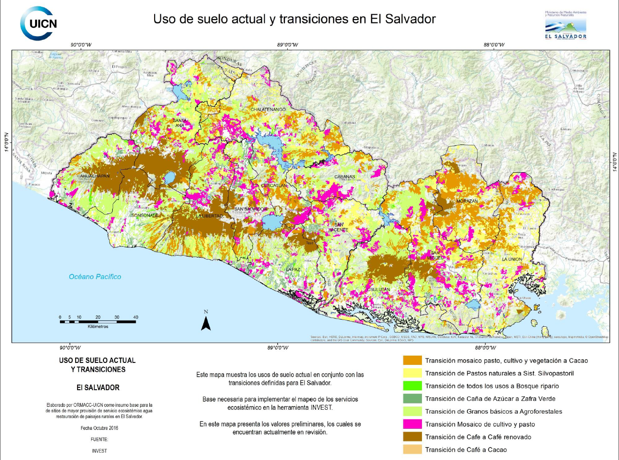 el salvador land transition map. el salvador  infoflr